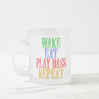 Wake Eat PLAY BASS Repeat Frosted Glass Coffee Mug
