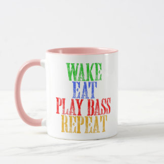 Wake Eat PLAY BASS Repeat Mug