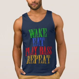 Wake Eat PLAY BASS Repeat Singlet