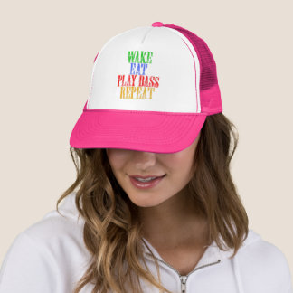 Wake Eat PLAY BASS Repeat Trucker Hat