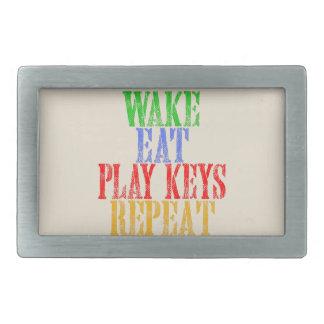 Wake Eat PLAY KEYS Repeat Belt Buckle