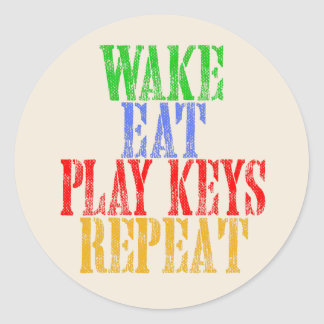 Wake Eat PLAY KEYS Repeat Classic Round Sticker