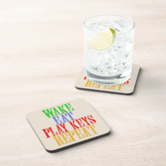 Wake Eat PLAY KEYS Repeat Coaster