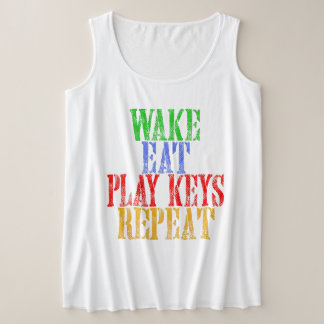 Wake Eat PLAY KEYS Repeat Plus Size Tank Top