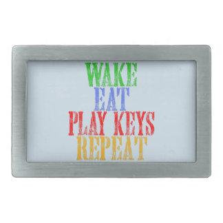 Wake Eat PLAY KEYS Repeat Rectangular Belt Buckles