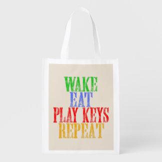 Wake Eat PLAY KEYS Repeat Reusable Grocery Bag