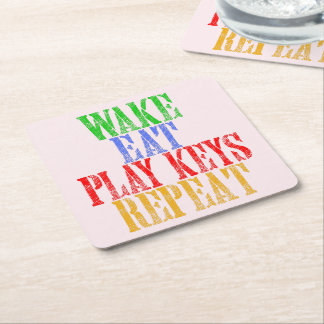 Wake Eat PLAY KEYS Repeat Square Paper Coaster