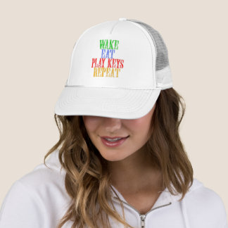 Wake Eat PLAY KEYS Repeat Trucker Hat