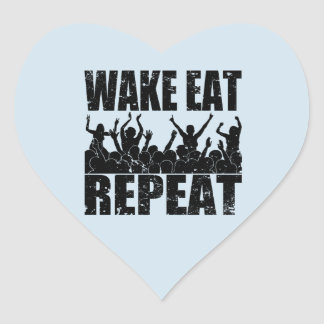 WAKE EAT ROCK REPEAT #2 (blk) Heart Sticker