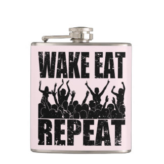 WAKE EAT ROCK REPEAT #2 (blk) Hip Flask