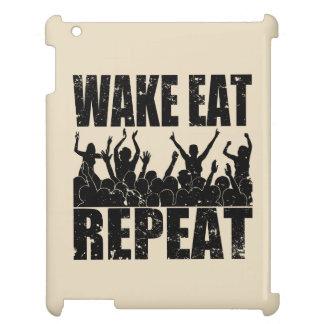 WAKE EAT ROCK REPEAT #2 (blk) iPad Covers