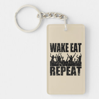 WAKE EAT ROCK REPEAT #2 (blk) Key Ring