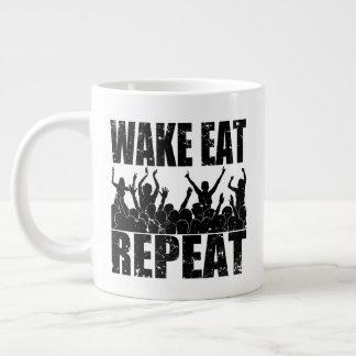 WAKE EAT ROCK REPEAT #2 (blk) Large Coffee Mug
