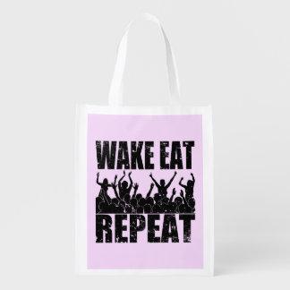 WAKE EAT ROCK REPEAT #2 (blk) Reusable Grocery Bag
