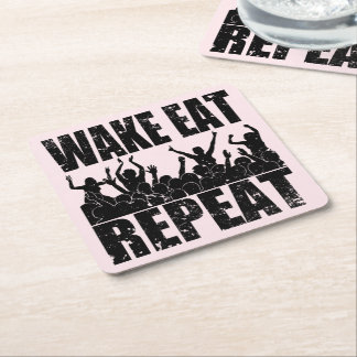 WAKE EAT ROCK REPEAT #2 (blk) Square Paper Coaster