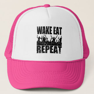 WAKE EAT ROCK REPEAT #2 (blk) Trucker Hat