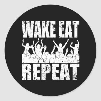 WAKE EAT ROCK REPEAT #2 (wht) Classic Round Sticker