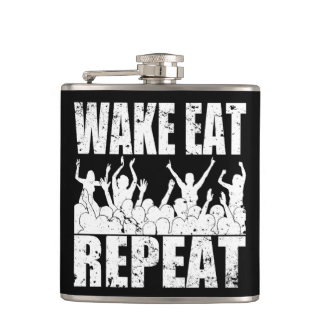 WAKE EAT ROCK REPEAT #2 (wht) Hip Flask