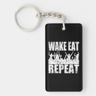 WAKE EAT ROCK REPEAT #2 (wht) Key Ring
