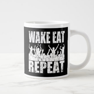 WAKE EAT ROCK REPEAT #2 (wht) Large Coffee Mug