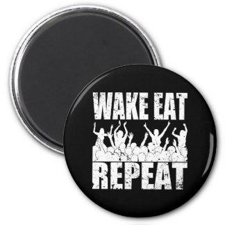 WAKE EAT ROCK REPEAT #2 (wht) Magnet