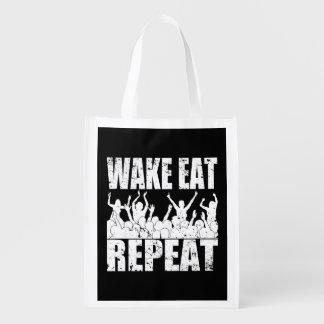 WAKE EAT ROCK REPEAT #2 (wht) Reusable Grocery Bag