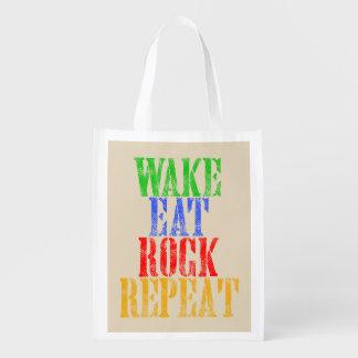 WAKE EAT ROCK REPEAT #3 REUSABLE GROCERY BAG