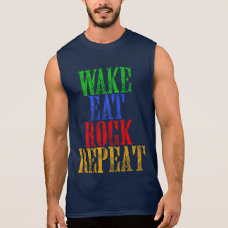 WAKE EAT ROCK REPEAT #3 SLEEVELESS SHIRT