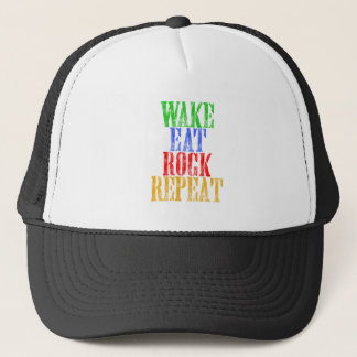 WAKE EAT ROCK REPEAT #3 TRUCKER HAT