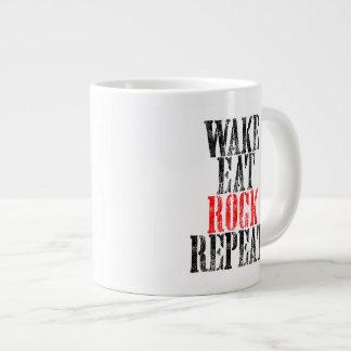 WAKE EAT ROCK REPEAT (blk) Large Coffee Mug
