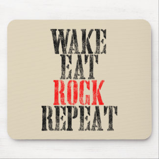 WAKE EAT ROCK REPEAT (blk) Mouse Pad