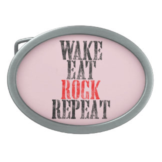 WAKE EAT ROCK REPEAT (blk) Oval Belt Buckle