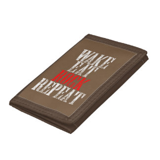 WAKE EAT ROCK REPEAT (wht) Tri-fold Wallet