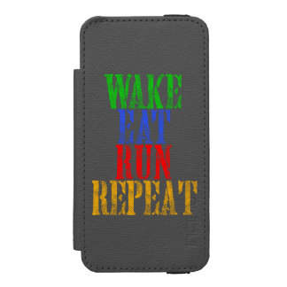 WAKE EAT RUN REPEAT INCIPIO WATSON™ iPhone 5 WALLET CASE
