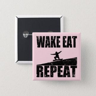 Wake Eat Snowboard Repeat #2 (blk) 15 Cm Square Badge