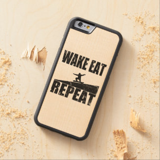 Wake Eat Snowboard Repeat #2 (blk) Carved Maple iPhone 6 Bumper Case