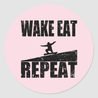 Wake Eat Snowboard Repeat #2 (blk) Classic Round Sticker