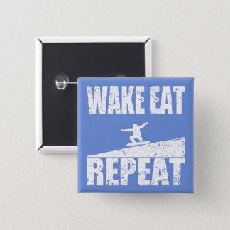 Wake Eat Snowboard Repeat #2 (wht) 15 Cm Square Badge