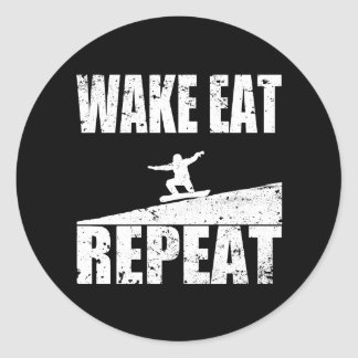 Wake Eat Snowboard Repeat #2 (wht) Classic Round Sticker