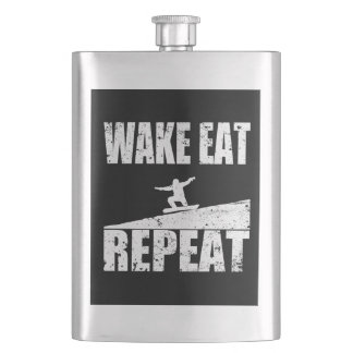 Wake Eat Snowboard Repeat #2 (wht) Hip Flask