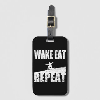Wake Eat Snowboard Repeat #2 (wht) Luggage Tag