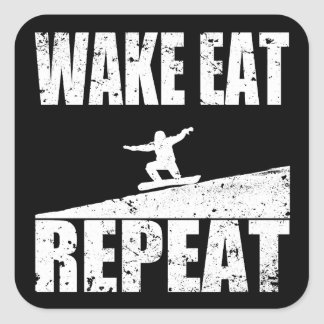 Wake Eat Snowboard Repeat #2 (wht) Square Sticker