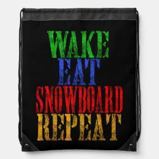 WAKE EAT SNOWBOARD REPEAT DRAWSTRING BAG