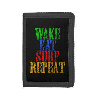 WAKE EAT SURF REPEAT TRI-FOLD WALLET