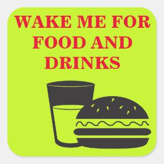 Wake me up! square sticker