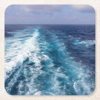 wake of a cruise ship square paper coaster