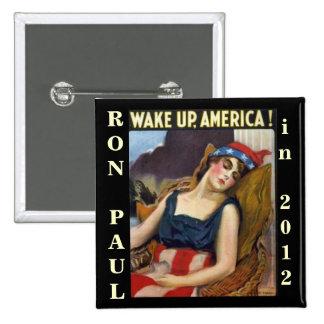 WAKE UP AMERICA Ron Paul 2012 15 Cm Square Badge