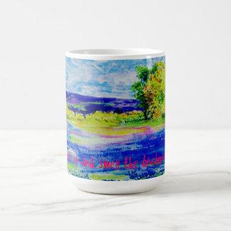 wake up and smell the bluebonnets mug