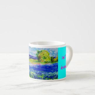 wake up and smell the bluebonnets espresso mug