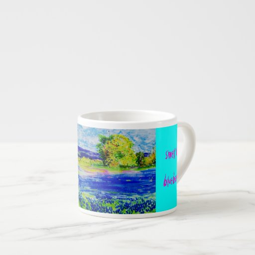 wake up and smell the bluebonnets espresso mug